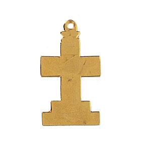Krzyż zawieszka z tłem i dekoracjami emaliowanymi s3