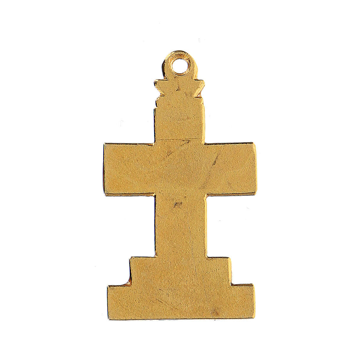 Cross pendant with enameled background and decor 4