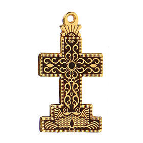 Cross pendant with enameled background and decor s2