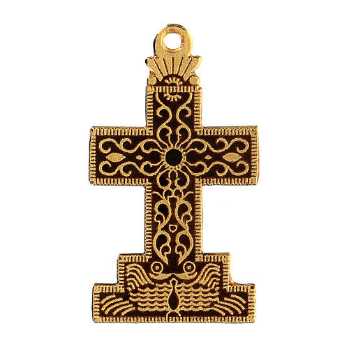 Cross pendant with enameled background and decor 1