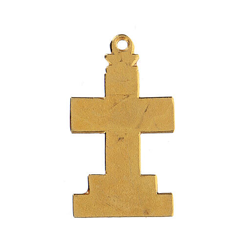 Cross pendant with enameled background and decor 3