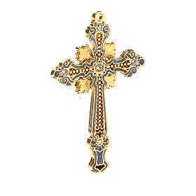 Two-tone enamelled crucifix pendant with rhinestones s3