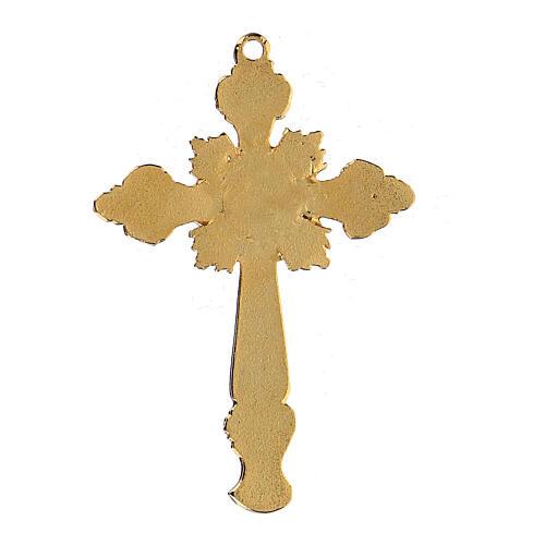 Two-tone enamelled crucifix pendant with rhinestones 2
