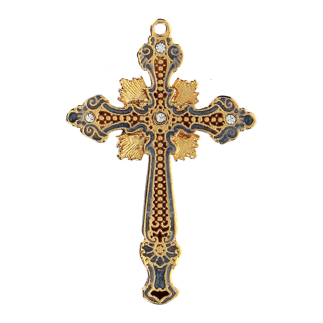 Cross pendant two-toned with strass 4