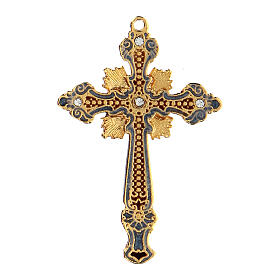 Cross pendant two-toned with strass s1