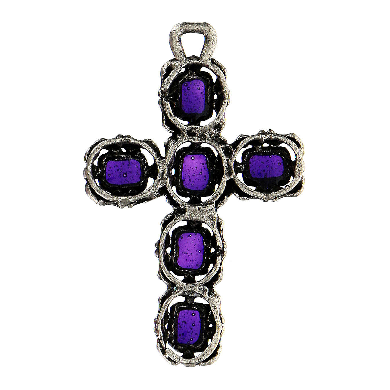 Cruz catedral plata envejecida y esmalte violeta 4