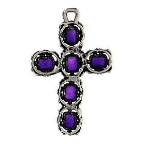 Cruz catedral plata envejecida y esmalte violeta s3