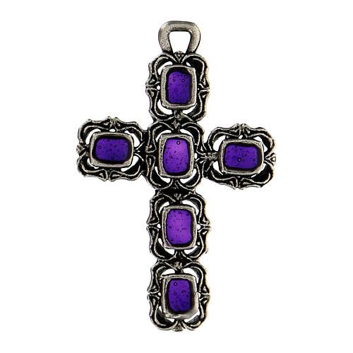 Cruz catedral plata envejecida y esmalte violeta 1
