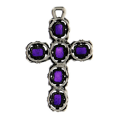 Cruz catedral plata envejecida y esmalte violeta 3