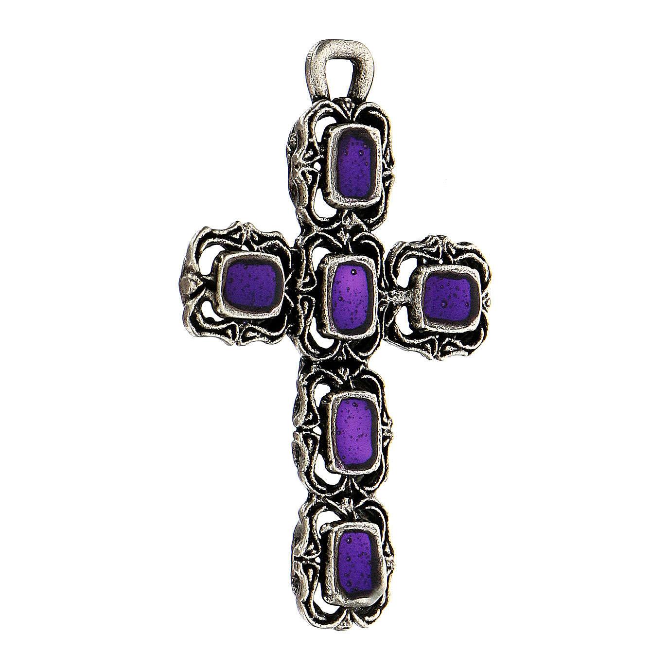 Croce cattedrale argento antico e smalto viola 4