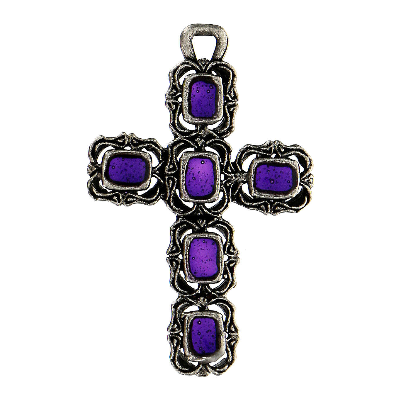 Cathedral cross in antique silver and purple enamel 4