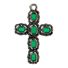 Cathedral cross in antique silver and green enamel s1
