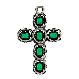 Cathedral cross in antique silver and green enamel s3