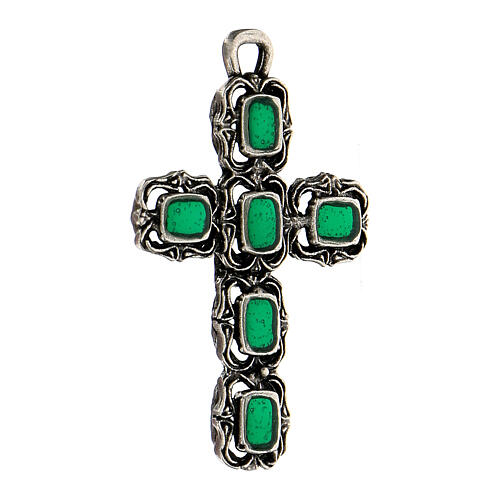 Cathedral cross in antique silver and green enamel 2