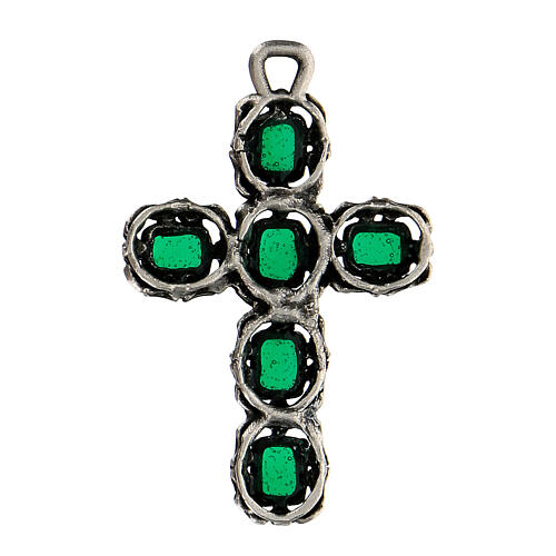 Cathedral cross in antique silver and green enamel 3