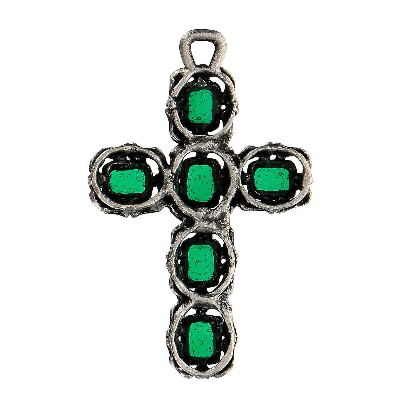 Pendente croce cattedrale smalto verde 4