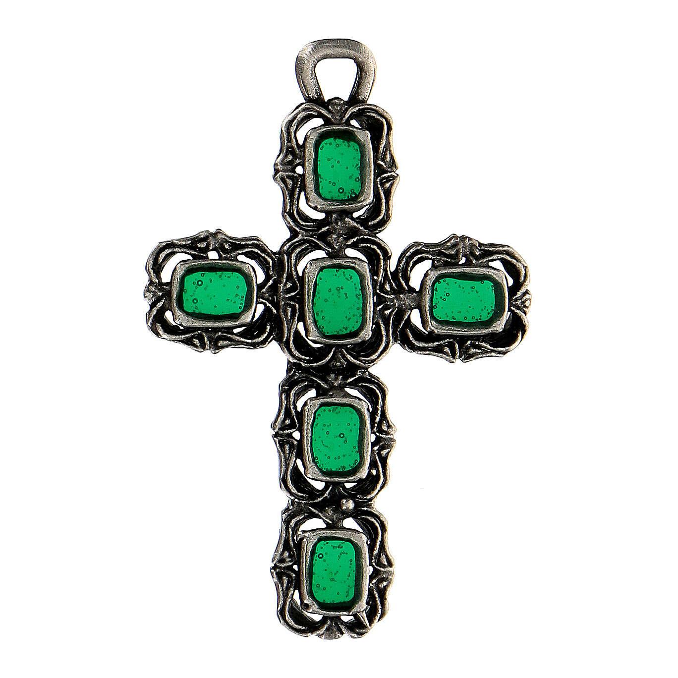 Cruz catedral prata efeito antigo esmalte verde 4