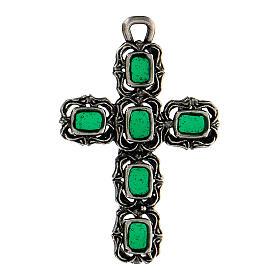 Cruz catedral prata efeito antigo esmalte verde s1