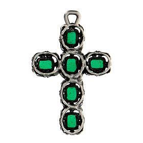 Cruz catedral prata efeito antigo esmalte verde s3
