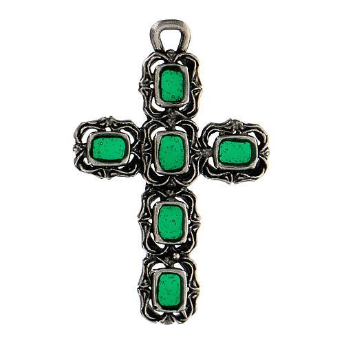 Cruz catedral prata efeito antigo esmalte verde 1