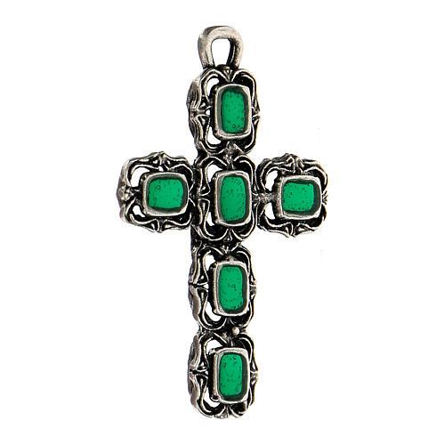 Cruz catedral prata efeito antigo esmalte verde 2
