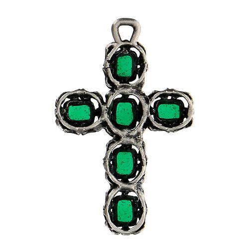 Cruz catedral prata efeito antigo esmalte verde 3