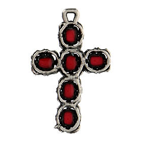 Cathedral cross in antique silver and red enamel s3