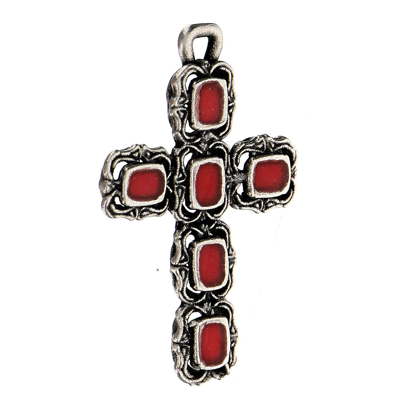 Colgante cruz catedral plata esmalte rojo 4