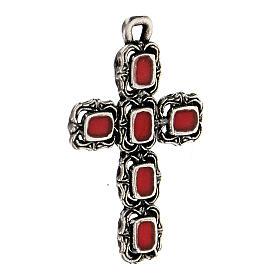 Colgante cruz catedral plata esmalte rojo s2