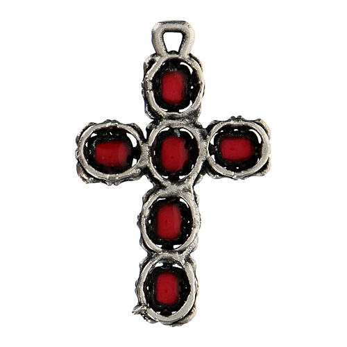 Colgante cruz catedral plata esmalte rojo 3