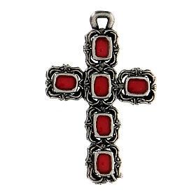 Pendente croce cattedrale argento smalto rosso s1