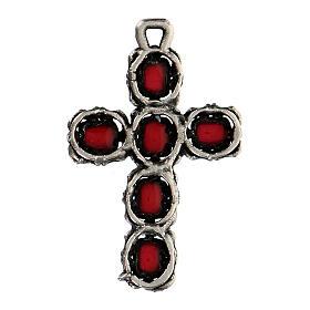Pendente croce cattedrale argento smalto rosso s3
