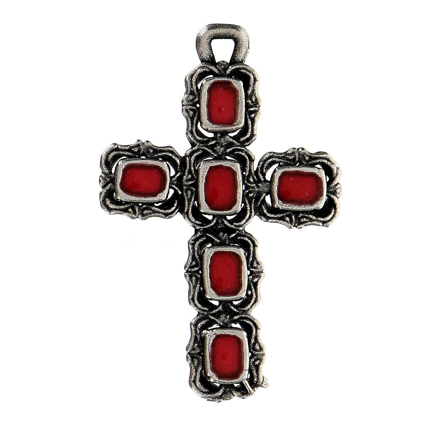 Cruz catedral prata efeito antigo esmalte vermelho 4