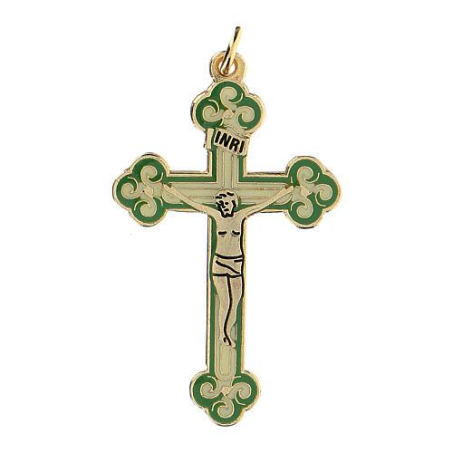 Cruz colgante dorada fondo verde 1