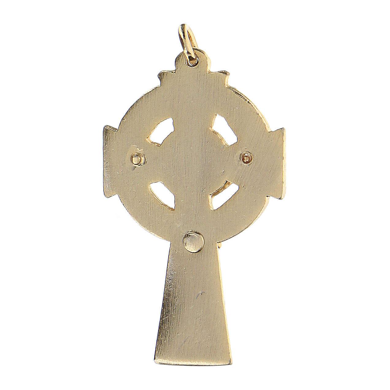 Pendentif croix émail fond vert 4