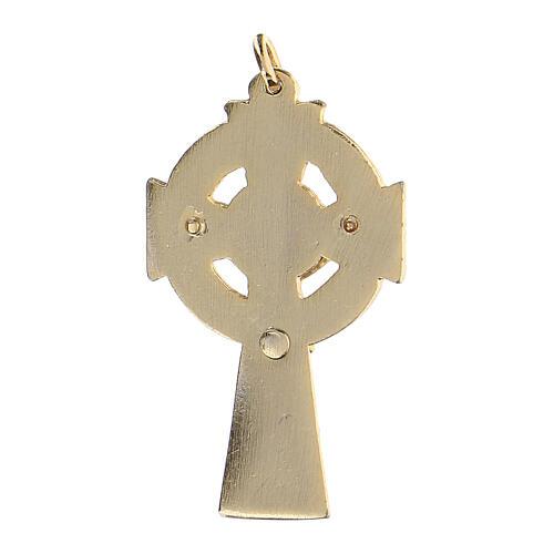 Pendentif croix émail fond vert 2