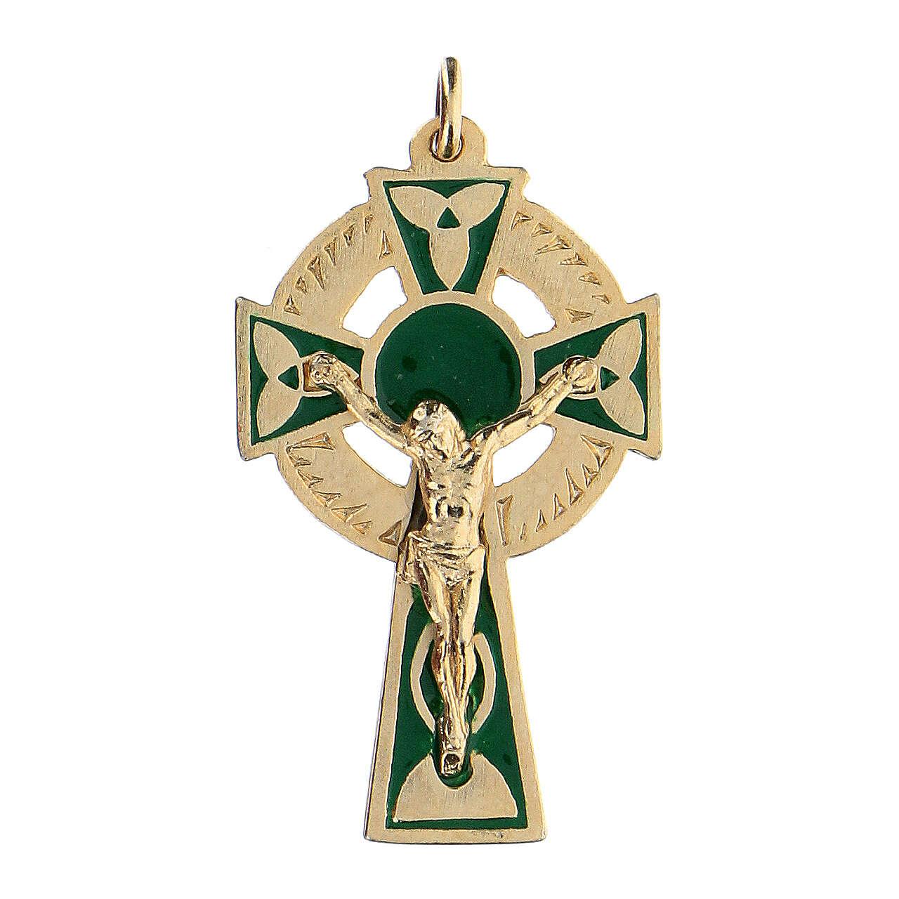 Pendente croce smalto sfondo verde 4