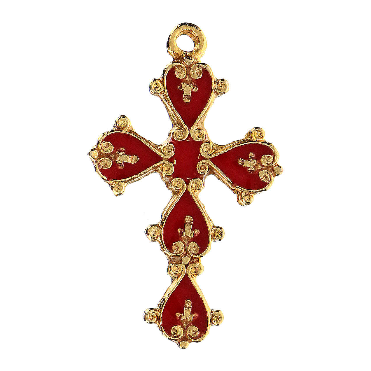Cathedral cross in antique silver and coral enamel 4
