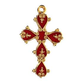 Colgante cruz catedral decorada fondo coral s1