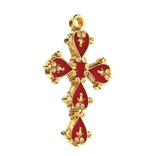 Pendente croce cattedrale decorata sfondo corallo 2