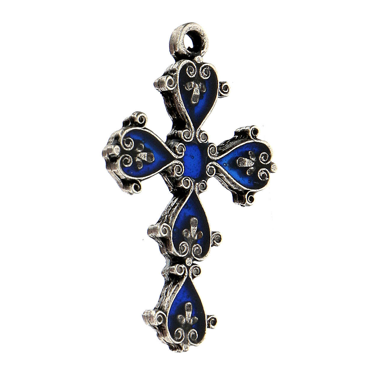 Cathedral cross in antique silver and blue enamel 4
