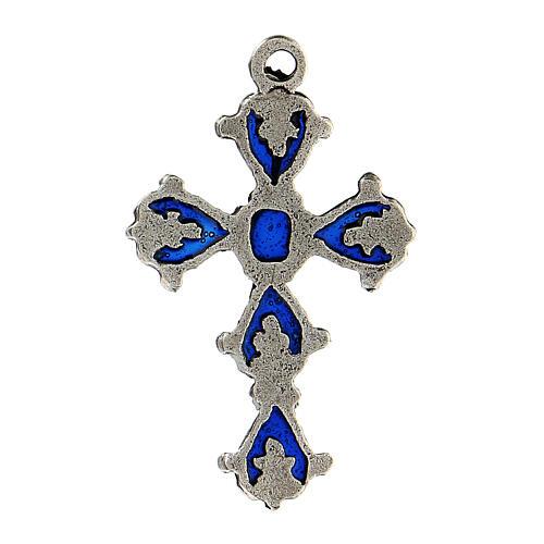 Croix cathédrale pendentif décorations émail bleu 3