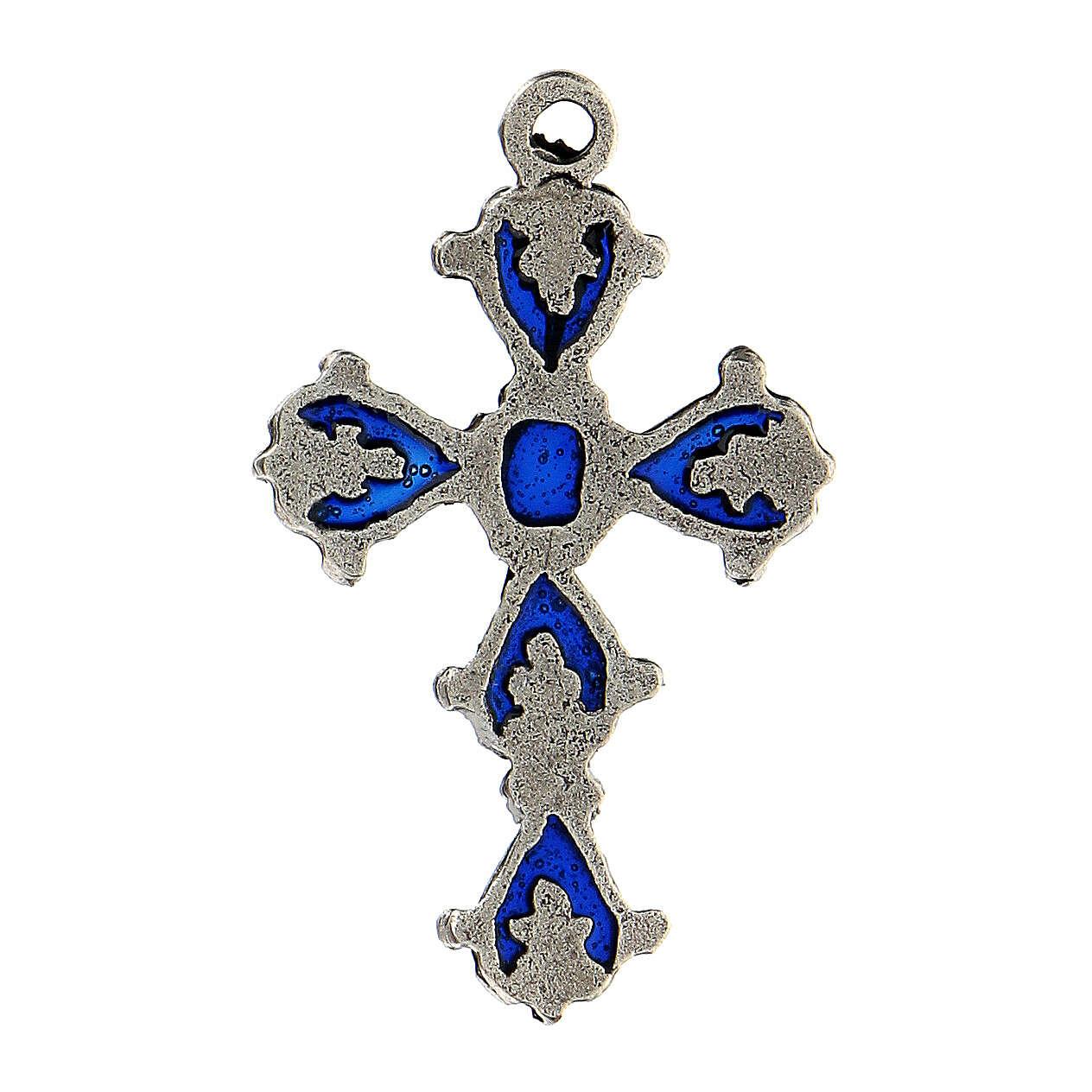 Croce cattedrale pendente decori smalto blu 4