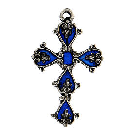 Pendant cathedral cross with blue enamel paint s1