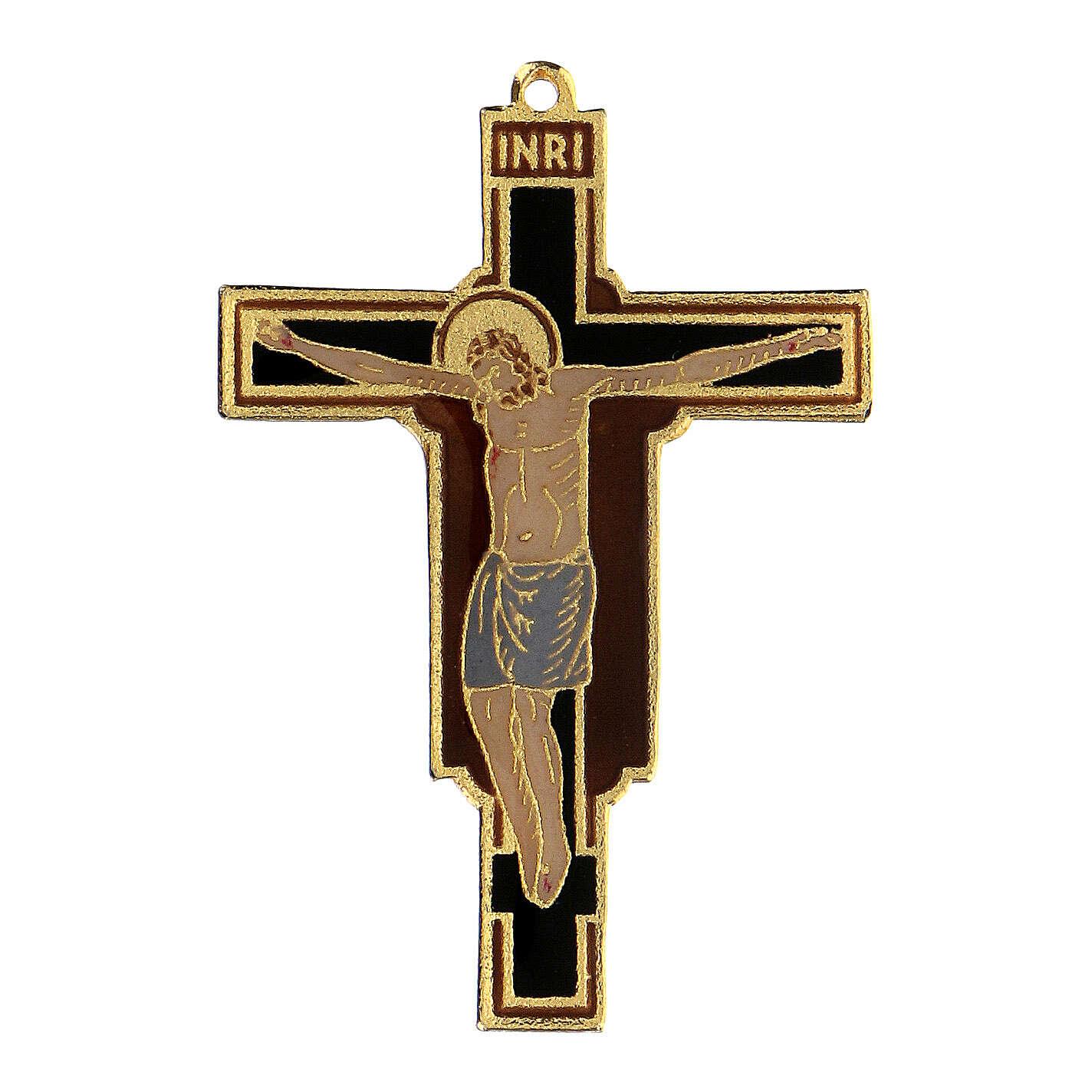 Crocefisso pendente francescano smaltato 4
