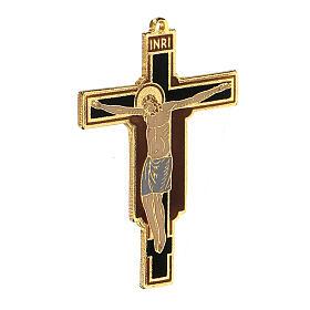 Crocefisso pendente francescano smaltato s2