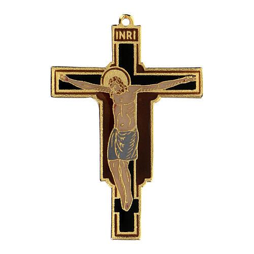 Crocefisso pendente francescano smaltato 1