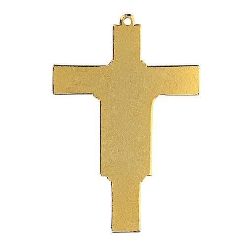 Cross crucifix pendant Franciscan enameled 3