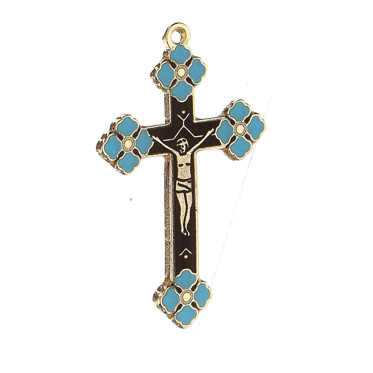Pingente crucifixo zamak decorações esmalte azul claro 4