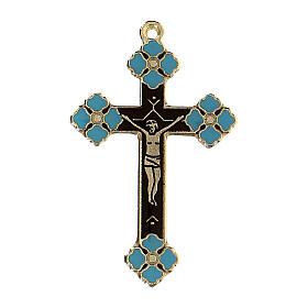 Pingente crucifixo zamak decorações esmalte azul claro s1